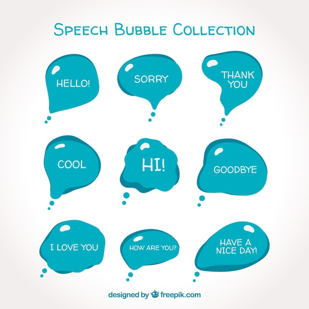 Modern blue speech bubble collection