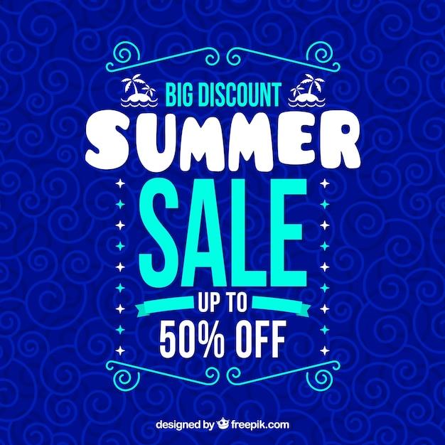 Modern blue summer sale background Free Vector
