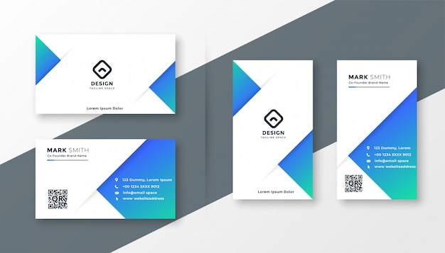 Modern blue triangle business card design Free Vector