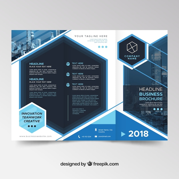 Modern Blue Trifold Brochure Template Vector Free Download