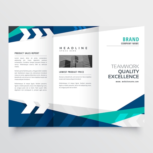 Modern blue trifold business brochure design Free Vector