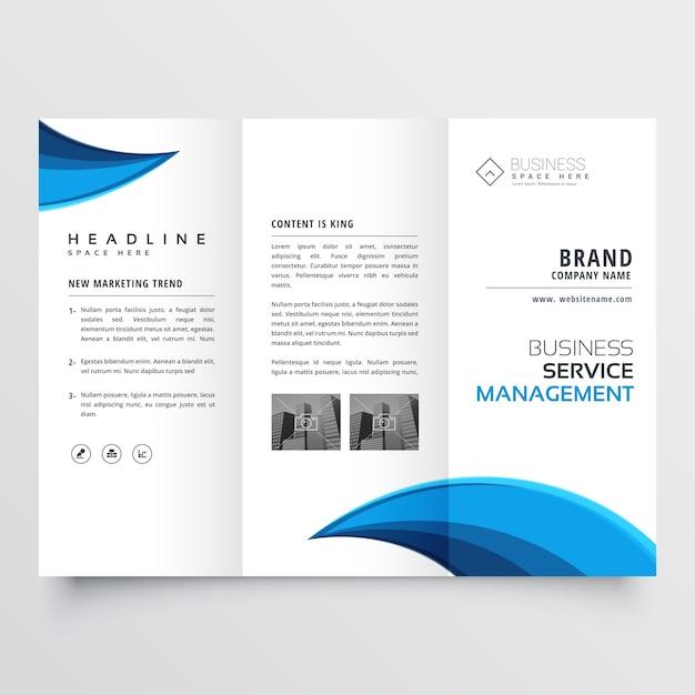 Modern blue trifold business brochure layout design Free Vector