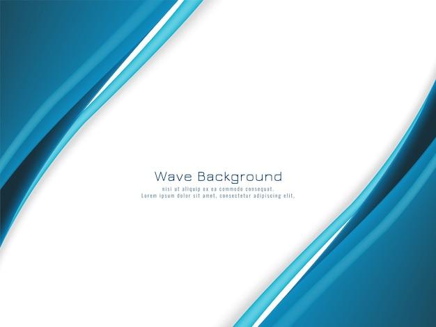 モダンな青い波が流れるデザインの背景 Premiumベクター