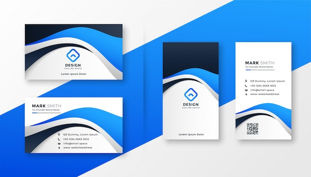 Modern blue wave style business card design Free Vector