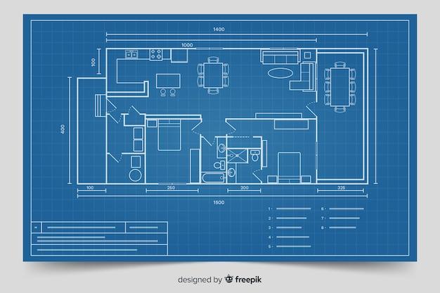 Modern blueprint for house design Free Vector