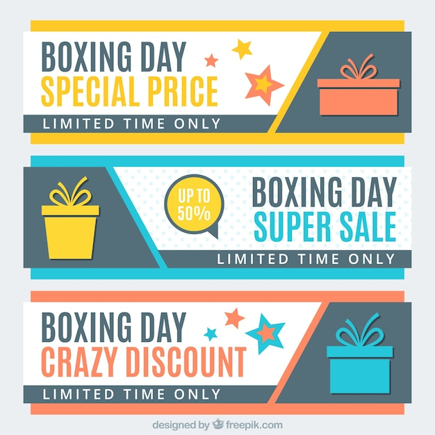 Modern boxing day banners of special\ prices