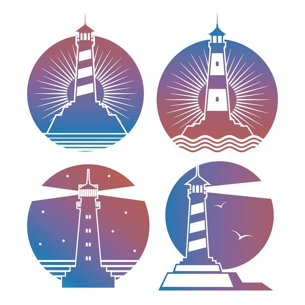 Modern bright lighthouses emblems or logos Premium Vector