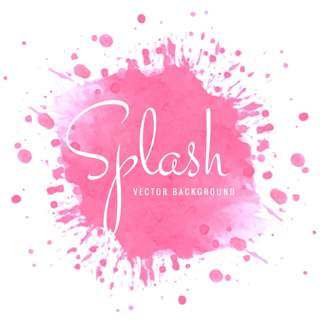 Modern bright watercolor pink splash design Free Vector
