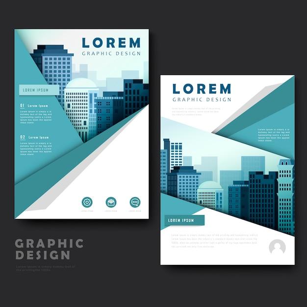 Современный дизайн шаблона брошюры с городским пейзажем Premium векторы