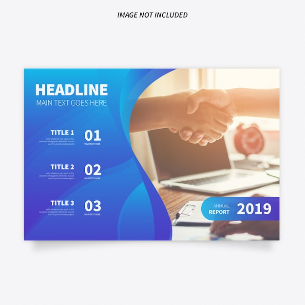 Modern brochure template with blue background Free Vector