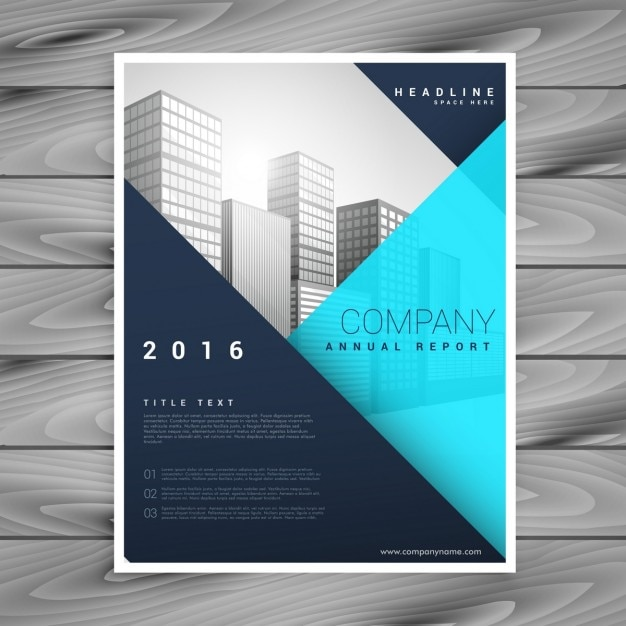 Modern Brochure Template With Blue Geometric Style Vector Free - Modern brochure template