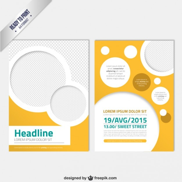 Modern brochure template with circles vector free download for Free brochure psd templates download