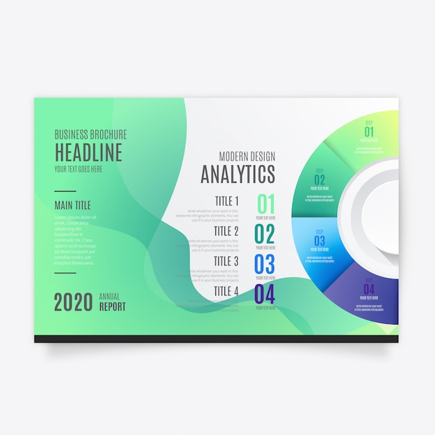 Modern brochure template with infographic Free Vector