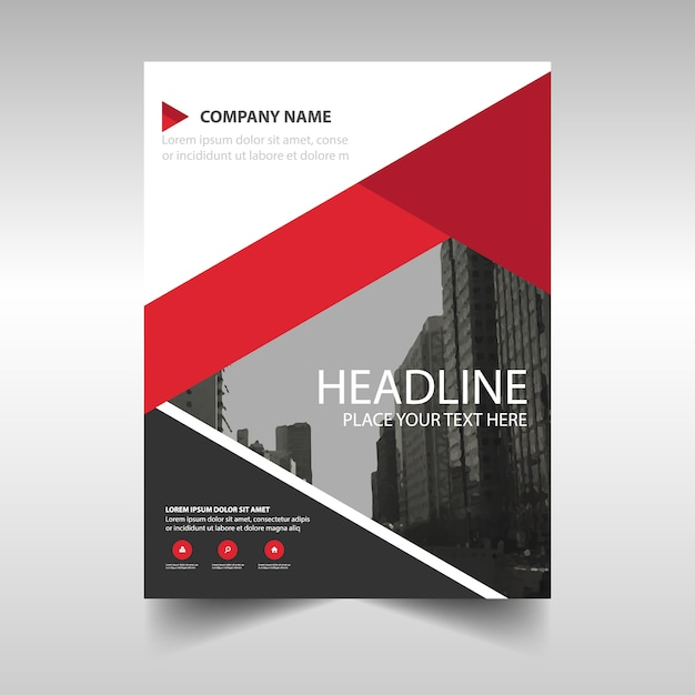 Modern Brochure Template With Red Geometric Shapes Vector Free - Modern brochure template