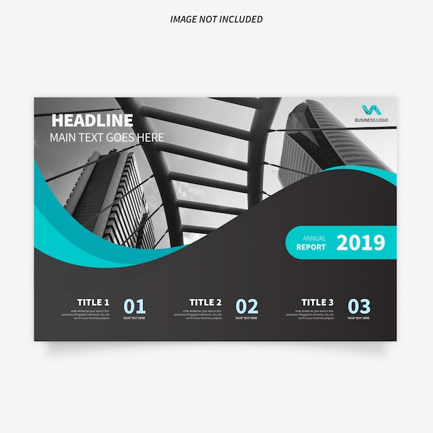 Modern Brochure Template with Stylish Waves Free Vector