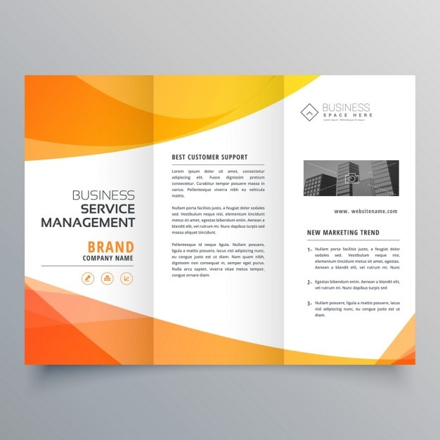 Modern Brochure With Abstract Orange Shapes Vector Free