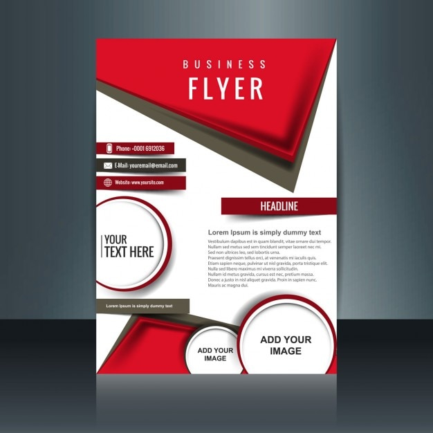 Modern Brochure With Red Geometric Shapes Vector | Free Download