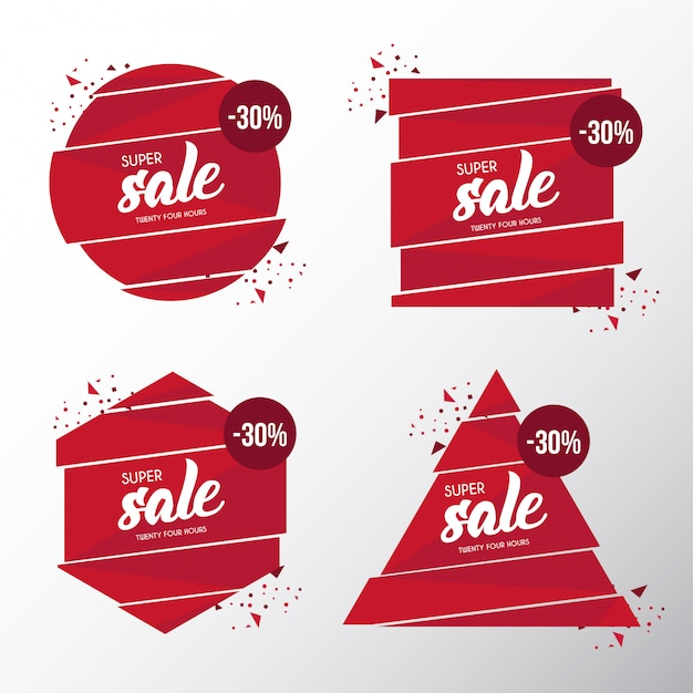 Modern broken banner sale template Free Vector