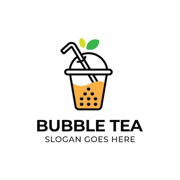 Современный пузырьковый чай с логотипом из листьев Premium векторы