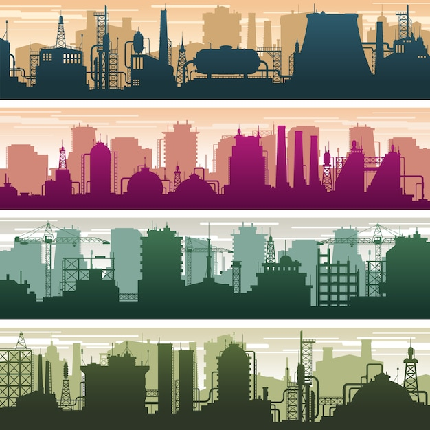 Modern building of gas and oil station, power plant and factory silhouettes. industry landscapes vector set Premium Vector