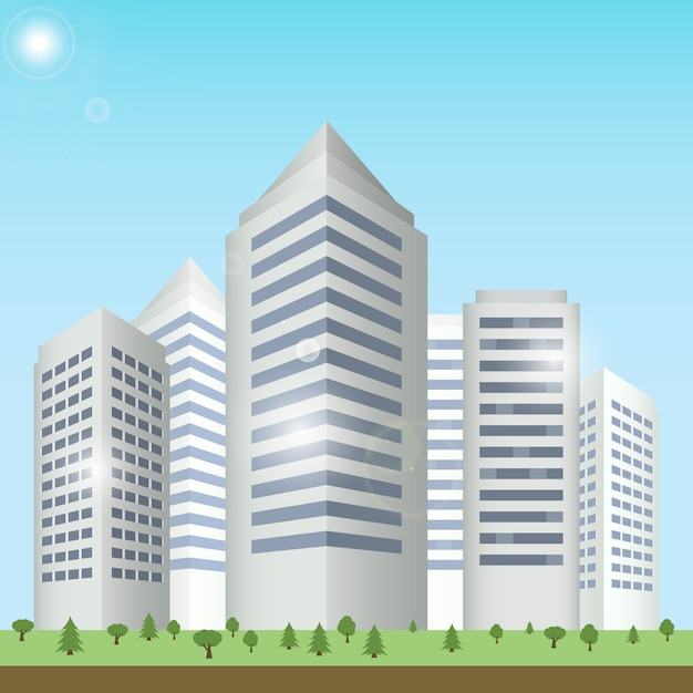 Modern buildings cityscape Free Vector