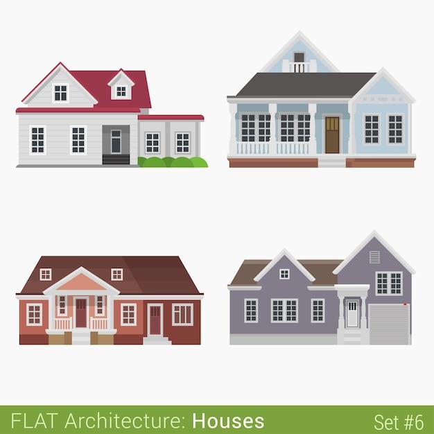 モダンな建物田舎の郊外の家は都市の要素を設定しますスタイリッシュな建築不動産プロパティコレクション 無料ベクター