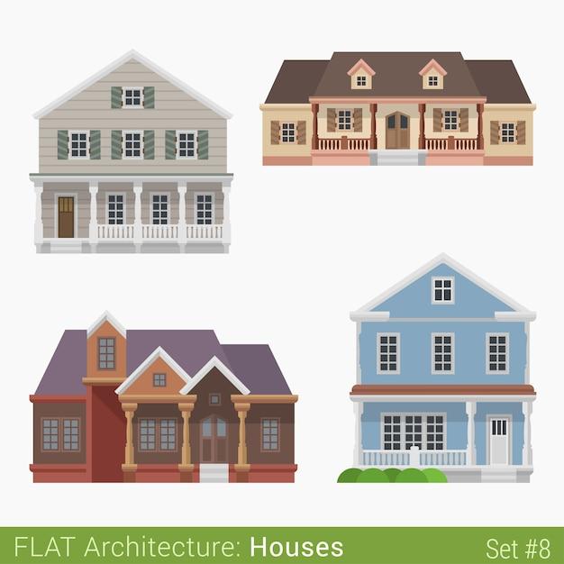 モダンな建物田舎の郊外のタウンハウスコテージログハウスの家セット都市の要素スタイリッシュな建築不動産プロパティコレクション 無料ベクター