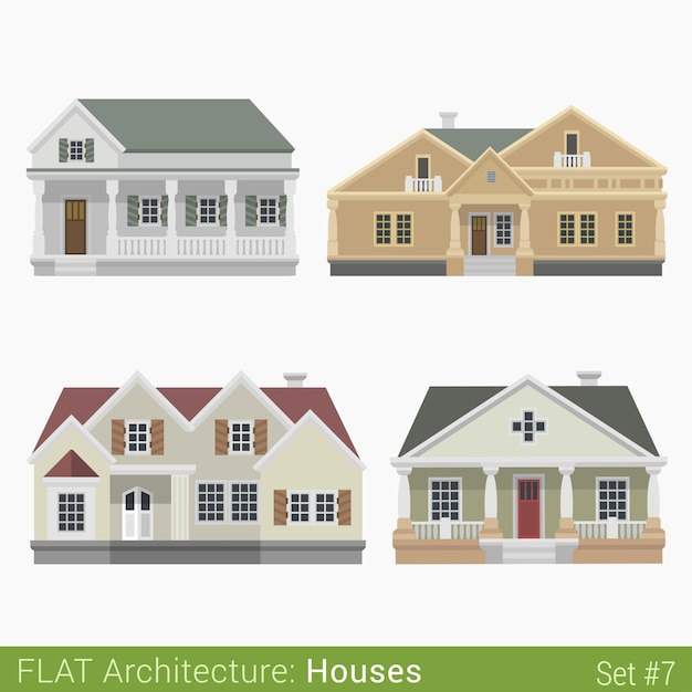 Modern buildings countryside suburb townhouse houses set city  elements stylish  architecture real estate property collection Free Vector