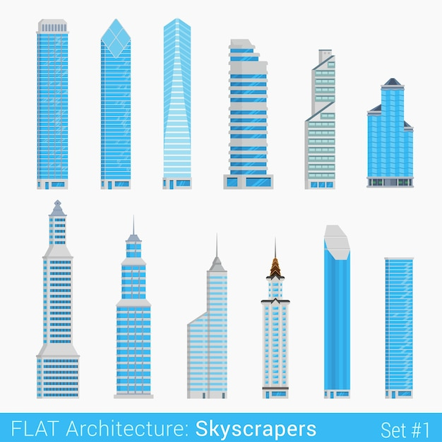 Modern buildings skyscrapers set city  elements stylish  architecture collection Free Vector