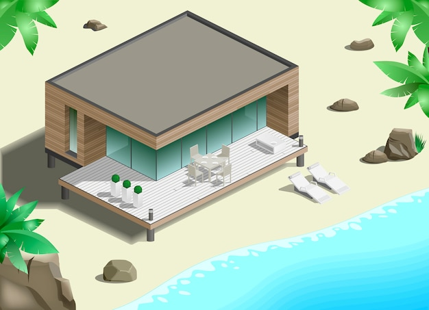 Modern bungalow on  coast Premium Vector