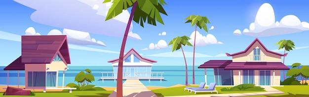 Modern bungalows on island resort beach Free Vector