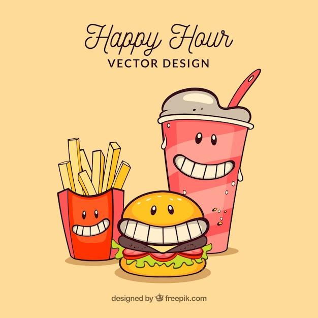 Modern burger restaurant composition Free Vector