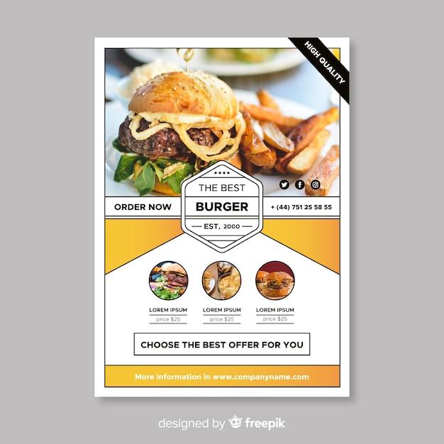 Modern burger restaurant flyer template Free Vector
