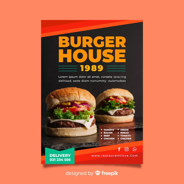 Modern burger restaurant flyer template Free Vector