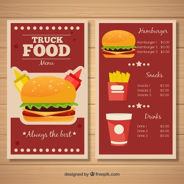Modern burgers food truck menu