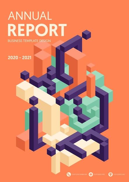 Годовой отчет современного бизнеса с изометрической геометрической формой Premium векторы
