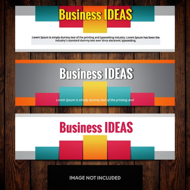 Modern business banner design templates with multicolored rectangles on grey background