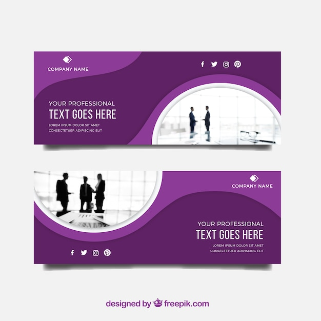 Modern business banner with flat design Free Vector