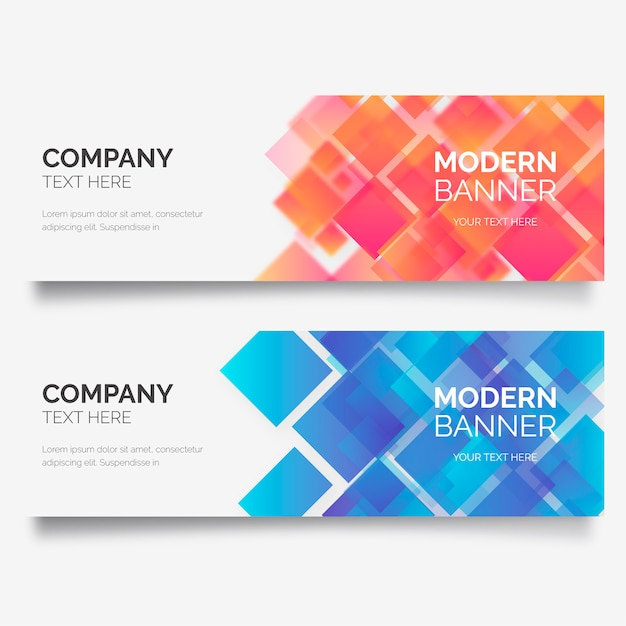 Modern business banner with geometric shapes Free Vector