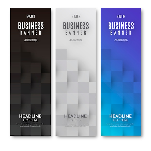 Modern Business Banner with Geometrical cubes Free Vector