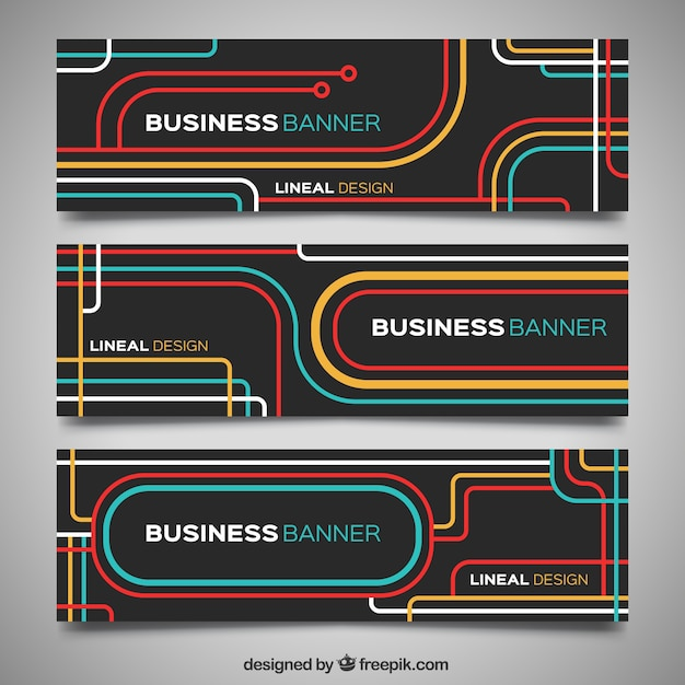 Modern business banners with colored lines