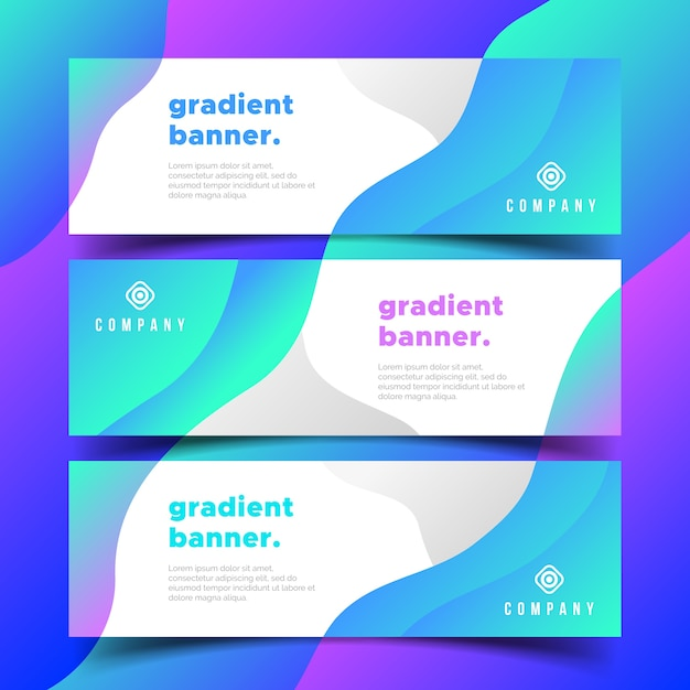 Modern business banners with gradients shapes Free Vector