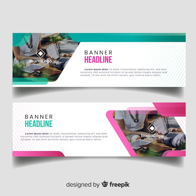 Modern business banners with photo Free Vector