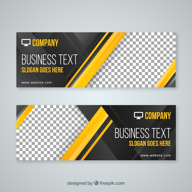 Modern business banners Free Vector