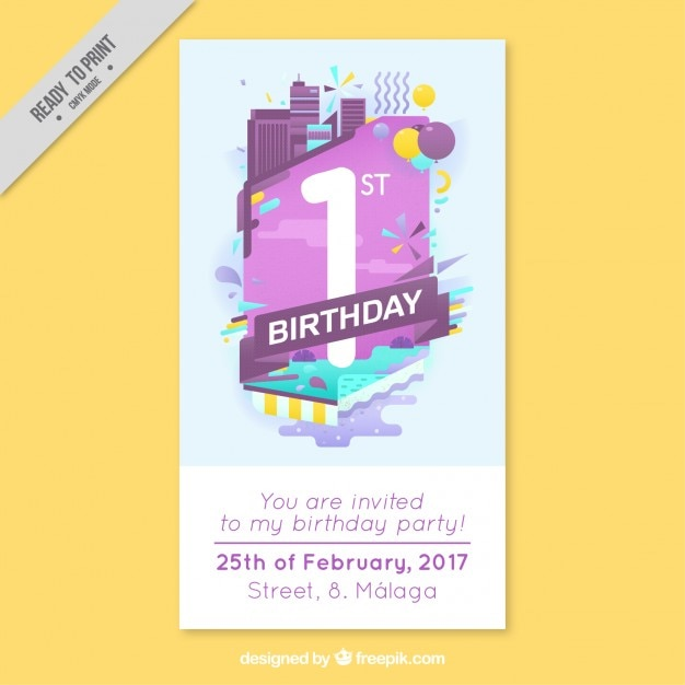 Modern Business Birthday Card Vector Free Download