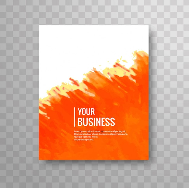 Modern business brochure of orange watercolor