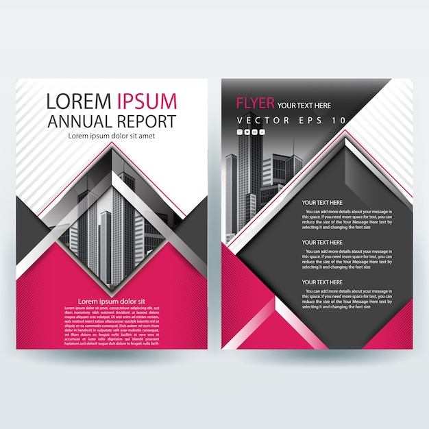 Modern Business brochure template with Pink Geometric shapes