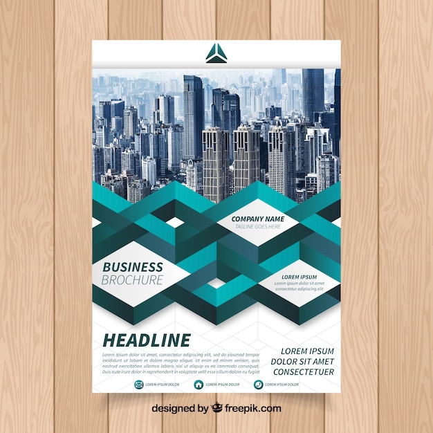 Modern business brochure with geometric shapes