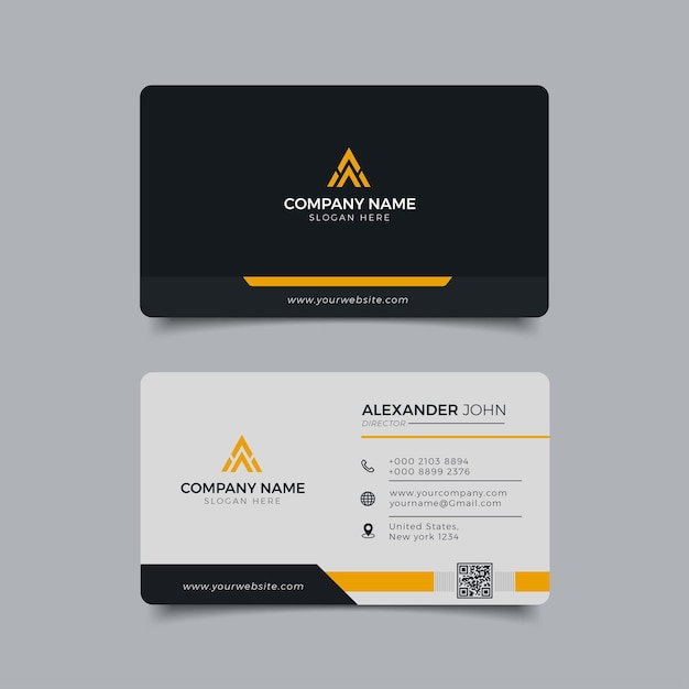 Modern business card black and yellow corporate professional Premium Vector