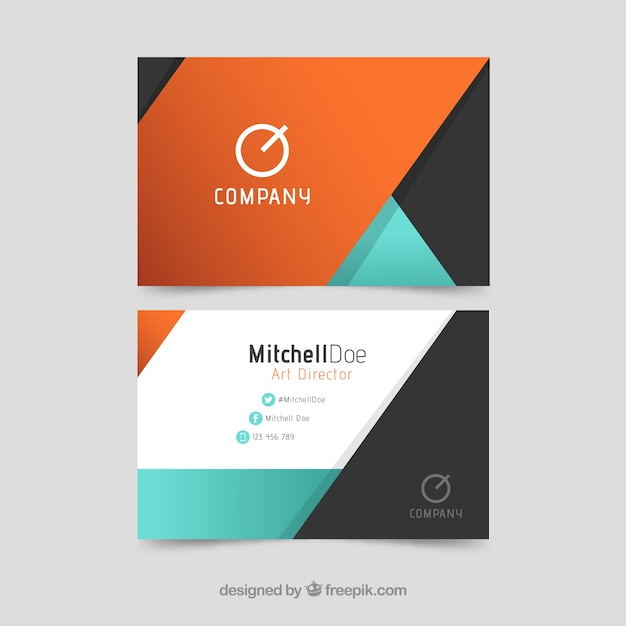 Modern business card colorful abstract